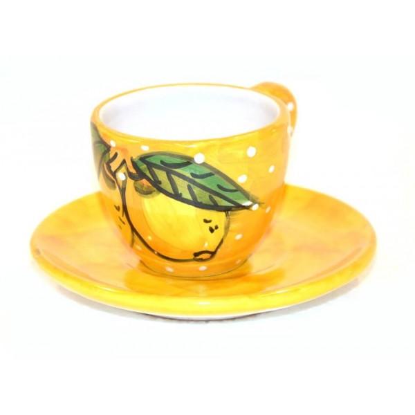 Tazzina caffè con piattino Limoni neve giallo