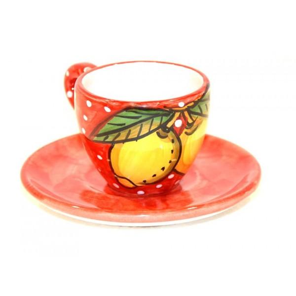 Espresso Cup & Saucer Lemon snow red