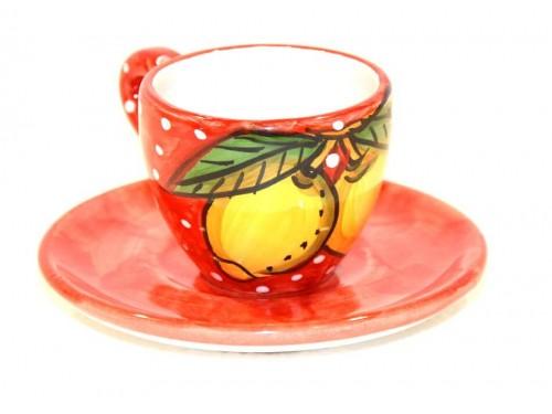 Tazzina caffè con piattino Limoni neve rosso