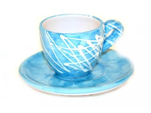 Tazzina caffè con piattino moderno celeste
