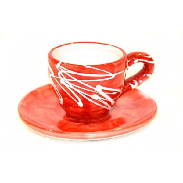 Tazzina caffè con piattino moderno rosso