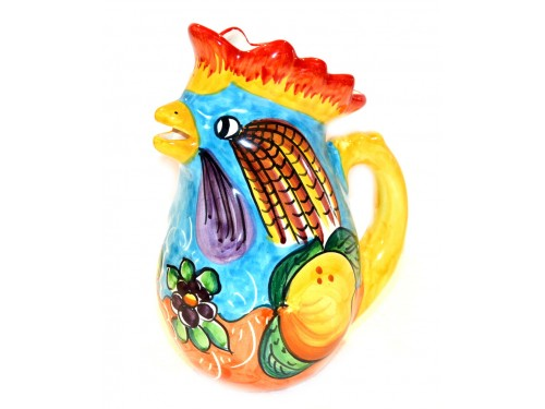 Pitcher Rooster Lemon flower light blue