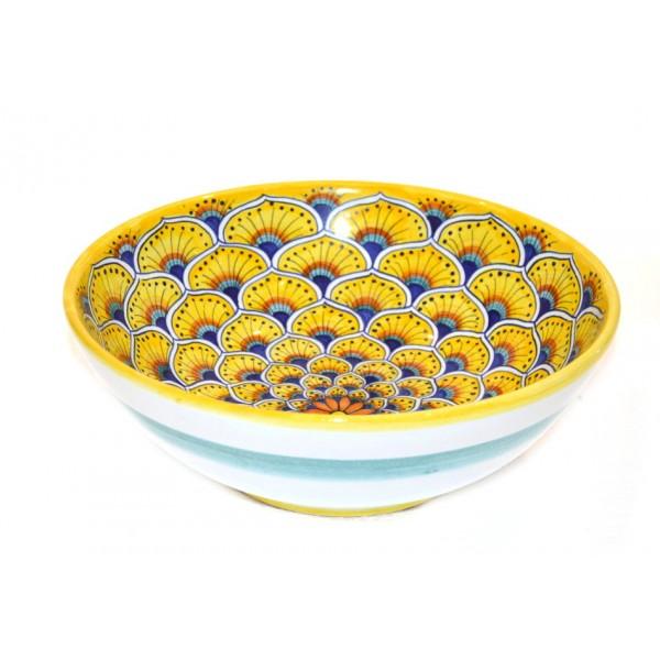 Round Bowl Peacock yellow