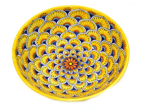 Round Bowl Peacock yellow