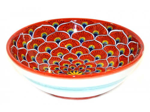 Round Bowl Peacock red