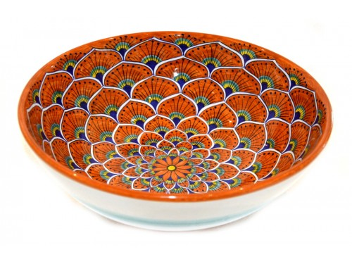 Round Bowl Peacock orange