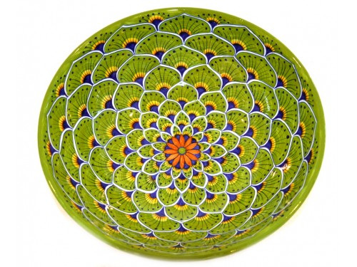 Round Bowl Peacock green