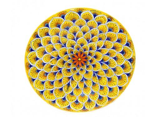 Wall Plate Peacock yellow