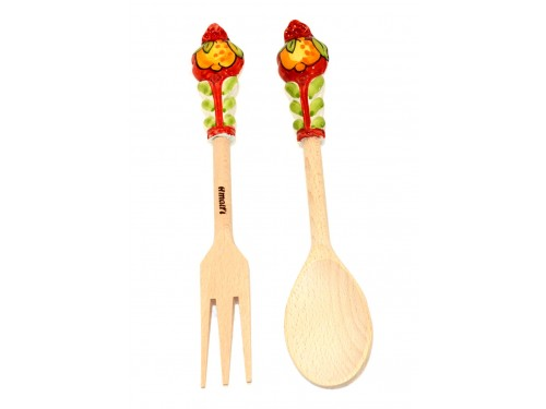 Salad Tongs Lemon red wood