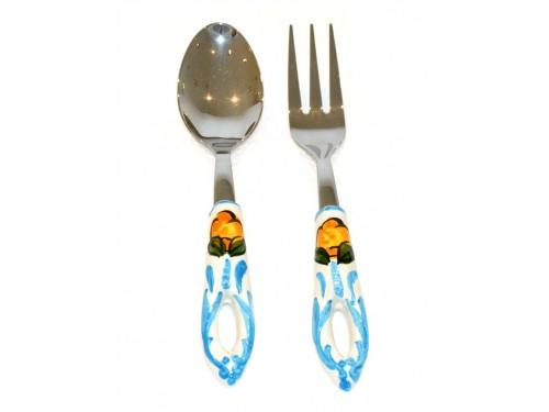 Salad Tongs Lemon Light blue Steel
