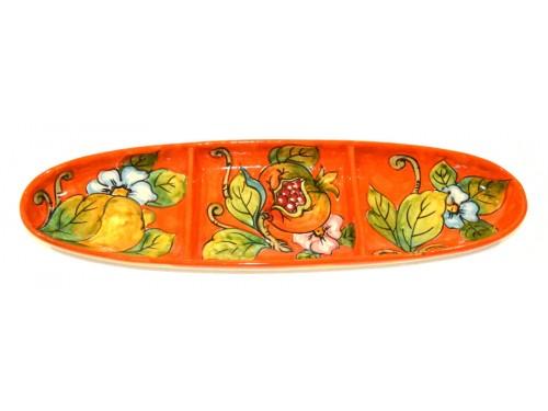 Appetizer 3 spaces mix fruits orange