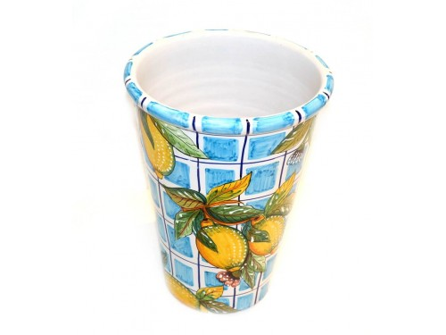 Vase - Ice Bucket Lemon Light blue squares