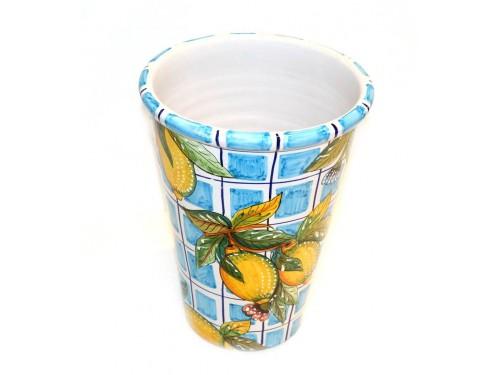 Vaso - Porta ghiaccio Limoni con quadrati celesti
