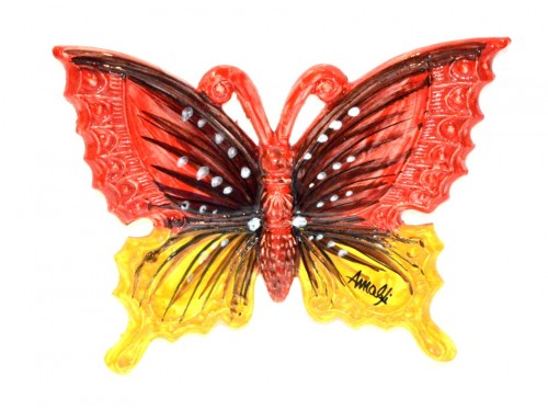 Butterfly Red & Yellow to hang (from 3,55 to 8,25 inches)