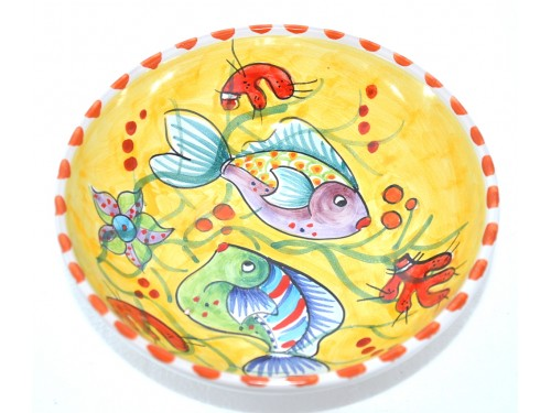Soup bowl Fishes Yellow