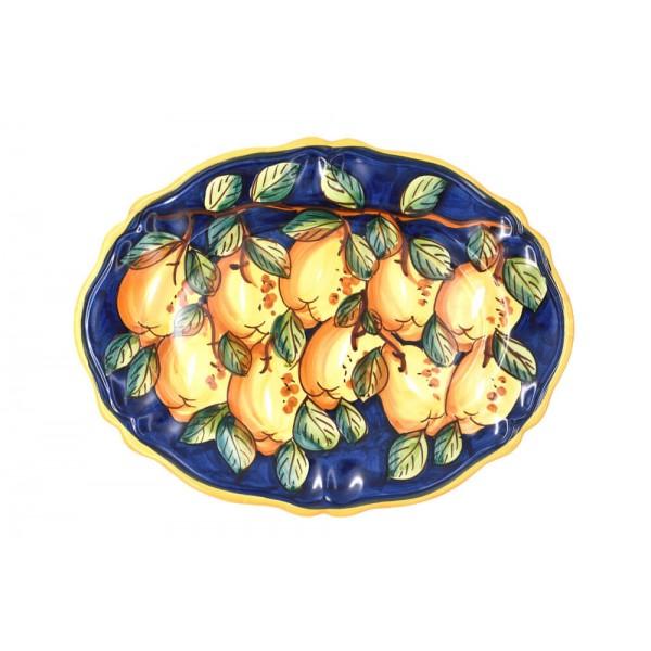 Oval Scalopped Plate Lemon blue