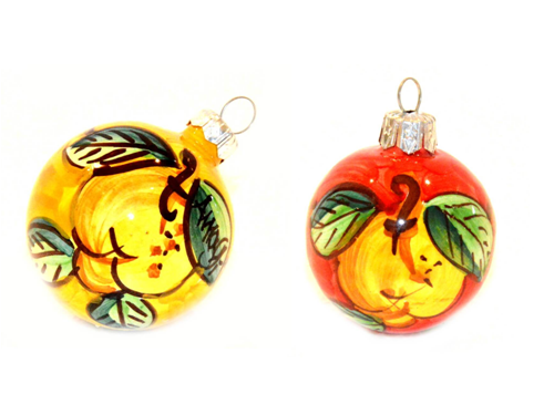 Christmas Ornaments Lemon yellow & red (2 pieces)