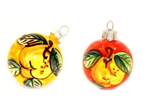Palline di Natale Limoni giallo e rosso (2 articoli)