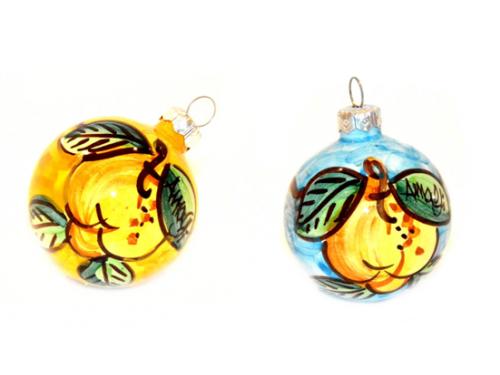 Christmas Ornaments Lemon yellow & light blue (2 pieces)