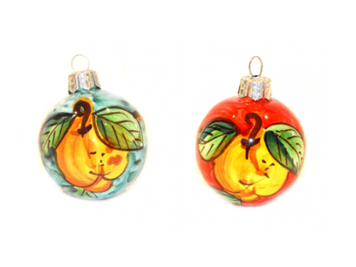 Christmas Ornaments Lemon green & red (2 pieces)