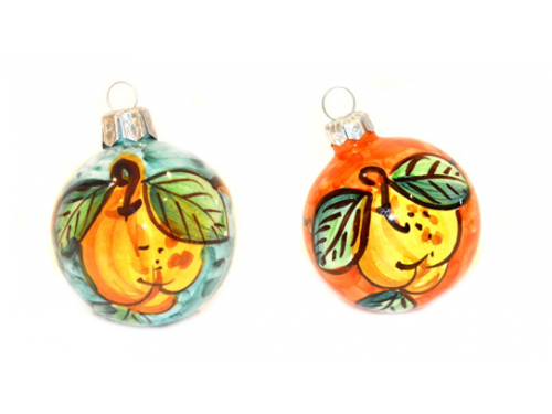 Christmas Ornaments Lemon green & orange (2 pieces)