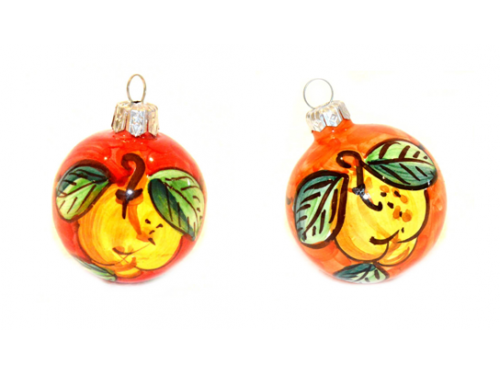 Christmas Ornaments Lemon red & orange (2 pieces)