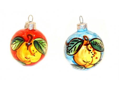 Christmas Ornaments Lemon red & light blue (2 pieces)