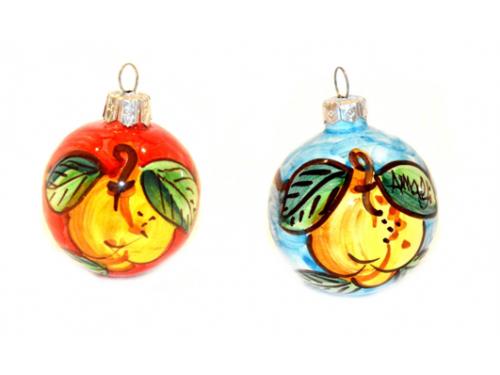 Palline di Natale Limoni rosso e celeste (2 articoli)