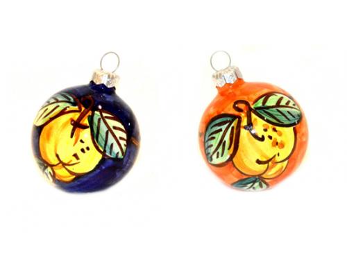Christmas Ornaments Lemon orange & blue (2 pieces)