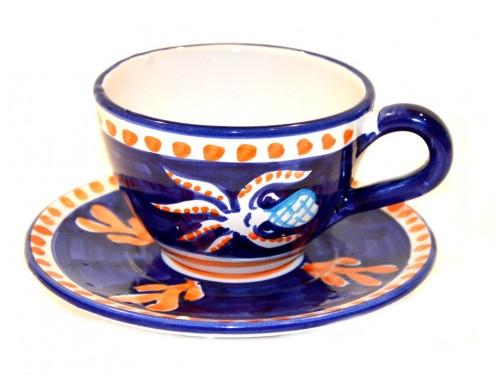 Tazza Cappuccino e piattino Polpo Blu