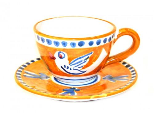 Tazza Cappuccino e piattino Uccellino Arancione