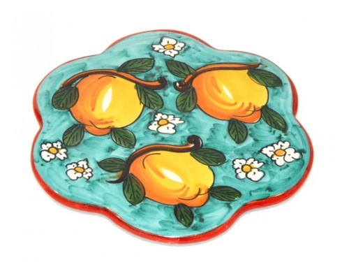 Trivet (flower shape) Lemon Daisies Aquamarine