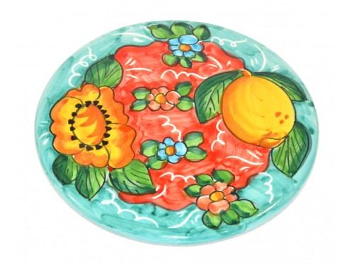Sottopentola Limone Fiori acquamarina (18 cm)
