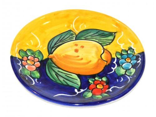 Piatto pane e per il burro limoni giallo - blu (16 cm)