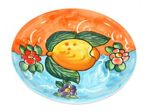 Piatto pane e per il burro limoni arancione - celeste (16 cm)