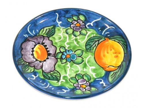 Piatto pane e per il burro limoni e fiori blu (16 cm)