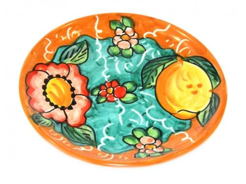 Piatto pane e per il burro limoni e fiori arancione (16 cm)