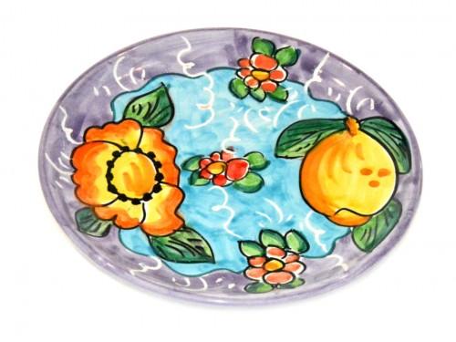 Piatto pane e per il burro limoni e fiori viola (16 cm)