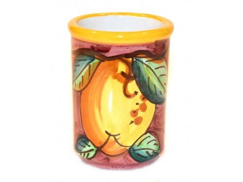 Bicchiere Porta Spazzolini Limone viola