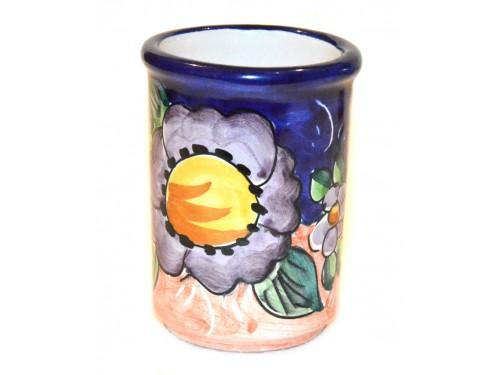 Bicchiere Porta Spazzolini Fiore Limone Blu
