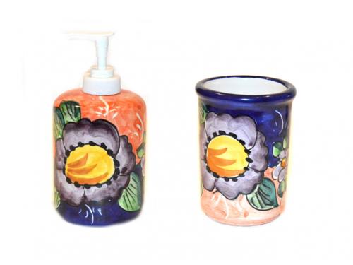 Soap Dispenser & Toothbrush Holder Flower Lemon Pink