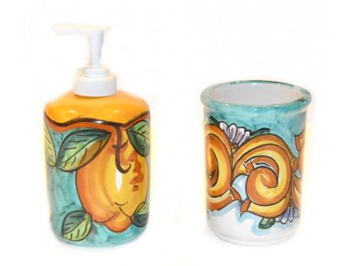 Soap Dispenser & Toothbrush Holder Barocco Lemon Green