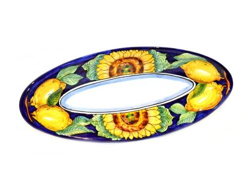 """Oval Serving Platter """"pointy"""" Sunflower Lemon Blue (3 sizes)"""