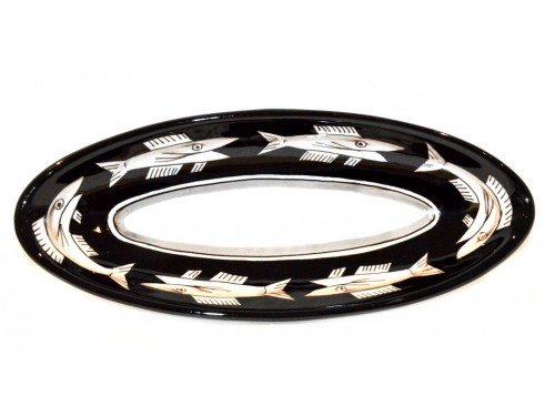 """Oval Serving Platter """"pointy"""" Anchovies Black (3 sizes)"""