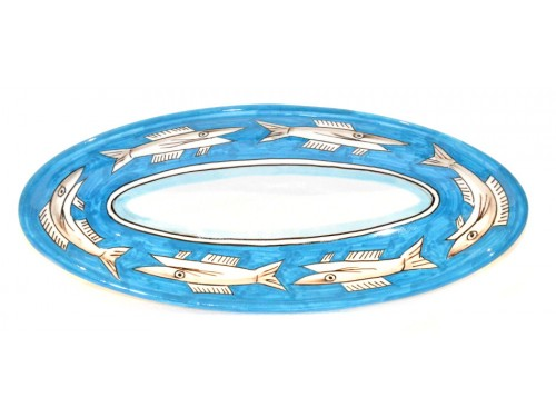 """Oval Serving Platter """"pointy"""" Anchovies Light Blue (3 sizes)"""
