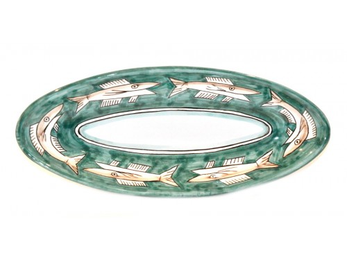 """Oval Serving Platter """"pointy"""" Anchovies Green (3 sizes)"""
