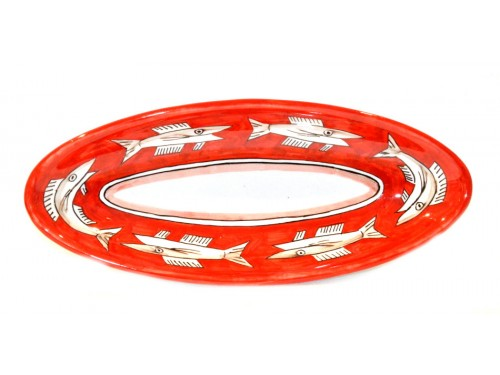 """Oval Serving Platter """"pointy"""" Anchovies red (3 sizes)"""