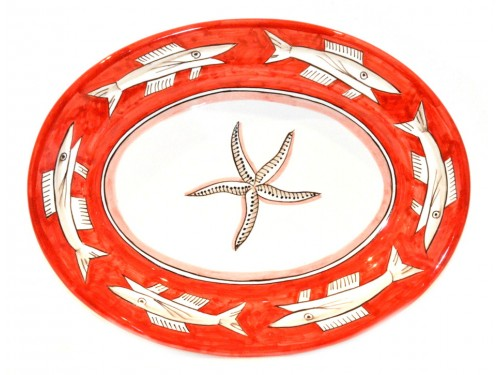 Oval Serving Platter Anchovies red (2 sizes)