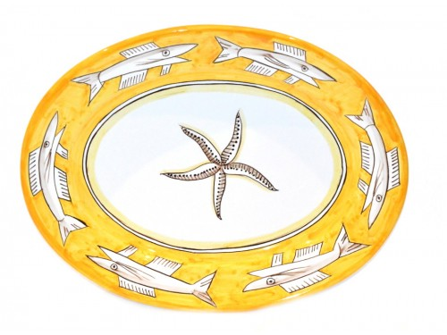 Oval Serving Platter Anchovies yellow (2 sizes)