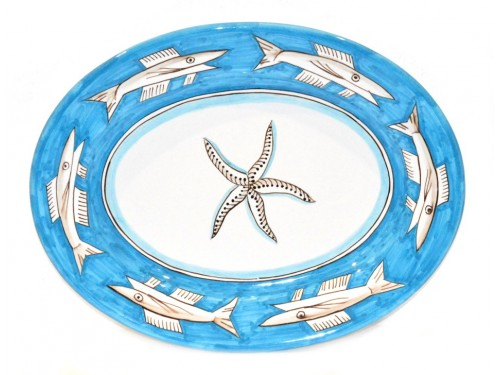 Oval Serving Platter Anchovies light blue (2 sizes)